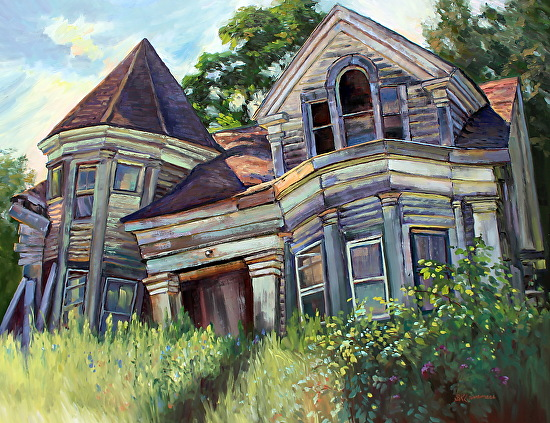 July 6, 2017 Searsport, Maine Abandoned Sea Captain House Painting ...