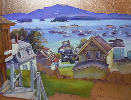 October 9 2017 Painted 20 Lobster Boats In A Painting Foggy Maine