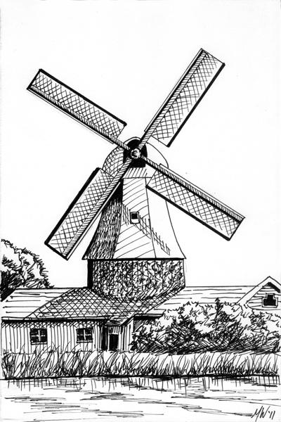 Mark Webster - Work Zoom: Mark Webster - Windmill Landscape Pen and