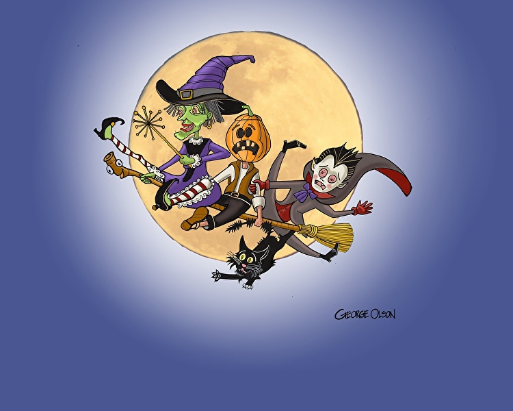 even witches and ghouls need some training fun sketch by book illustrator george olson of olson art farms to fanaticize halloween
