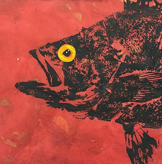 Black Sea Bass on red mango paper from Thailand (unframed original)