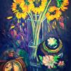 Sunflowers and Cloisonné vase