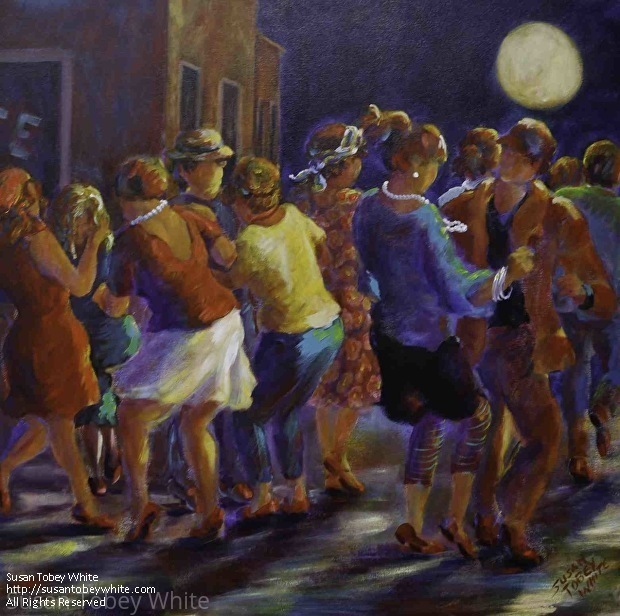 dbfbbb0a6d Dance Series: Steppin' in the Moonlight by Susan Tobey White Acrylic ~ 36 x