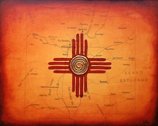 Brian Billow Work Zoom New Mexico Map Painting Flag With Zia Sun