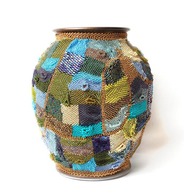 Beaded Vase by  Galerie du Soleil Japanese Seed Beads over Glass ~ 8 x 7 x 7