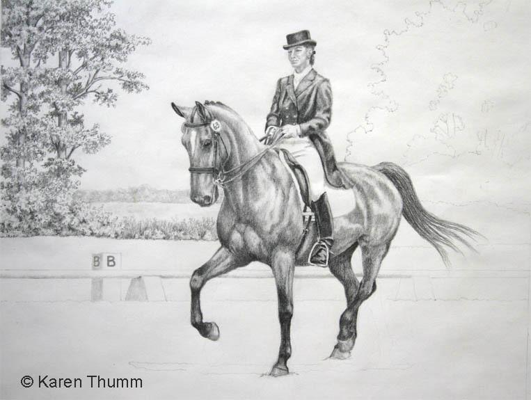 Karen Baker Thumm Work Zoom Easy Rider Dressage Horse And Rider