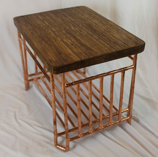 End Grain Coffee Table.Plywood End Grain And Copper Pipe Table With Shelf