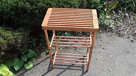 Sapele Slat and Copper Pipe Table with Two Copper Pipe Shelves