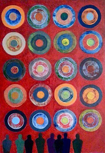 Don\'t Make Me a Target by Elaine Kehew Oil ~ 100 cm x 70 cm