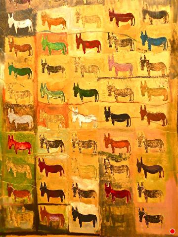 Lamu Donkeys by Elaine Kehew Oil ~ 100 cm x 70 cm