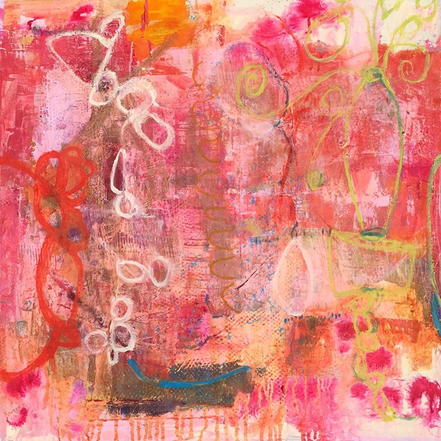 "SUMMER VISITS by Pamela Fowler Lordi Acrylic ~ 30"" x 30"""