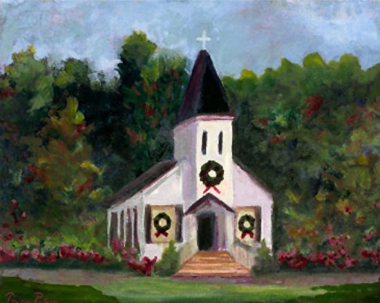 Country Church At Christmas By Tricia Rutsis