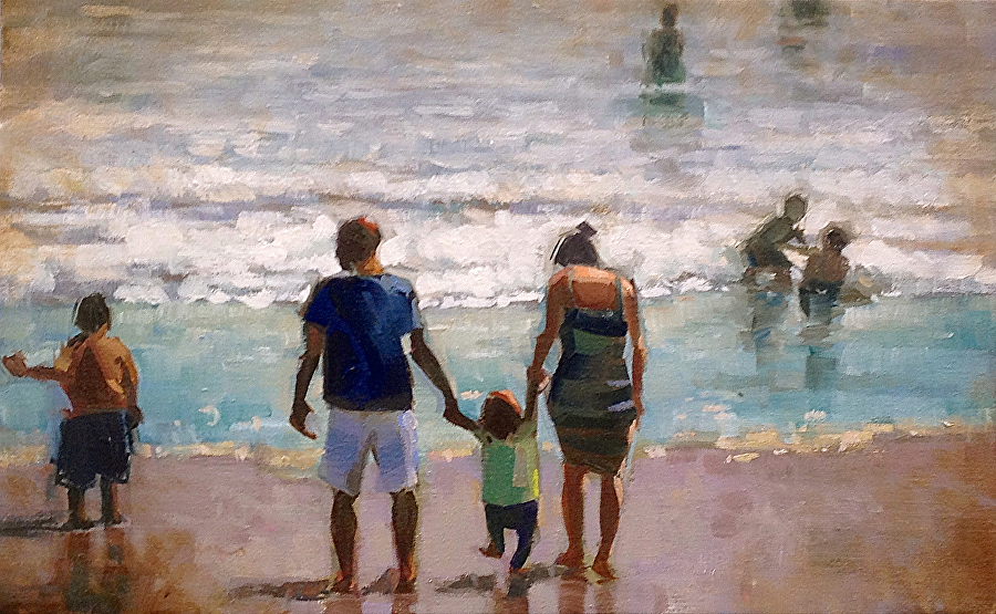 Day at the beach by Daniel Raminfard Oil ~ 12 x 18