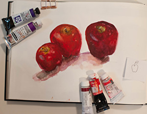 Painted there dimensional apple