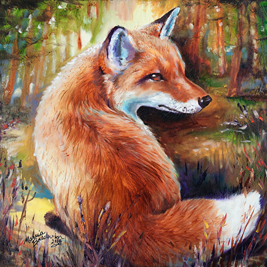 Red Fox Rowdy By M Baldwin Oil